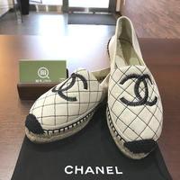 【モノカウ】シャネル(CHANEL)エスパドリーユ ココマーク モカシン G32910 白 キャンバス