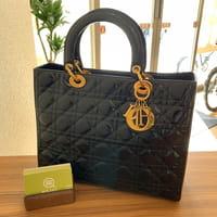 ディオール(Dior)レディディオール パテントレザー (エナメル) 黒