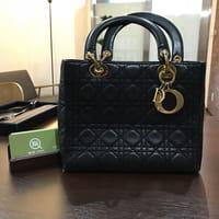 【モノカウ】ディオール(Dior)カーフ レディディオール カナージュ ハンドバッグ 黒
