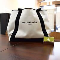 【モノカウ】バレンシアガ(BALENCIAGA)ネイビーカバ ハンドバッグ ナチュラル×ブラック キャンバス×レザー